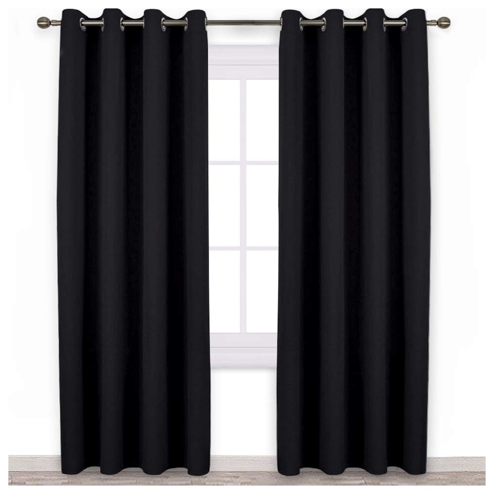 NICETOWN Patio Blackout Curtain Shades - Summer Home Decoration Thermal Insulated Grommet Blackout Draperies/Drapes for Kitchen (2 Panels, 52 inches x 95 inches,Black)