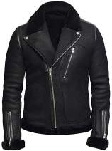 VearFit Snuff Stylo Black Shearling Flying Aviator Warm Winter Real Leather Jacket for Men