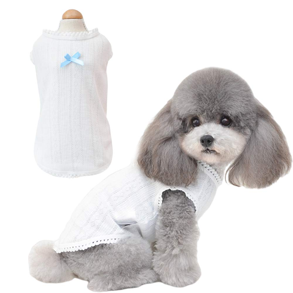 Petter Pet Clothes for Dog Cat Dog Shirt Pet Shirts Cotton Puppy Clothes Summer Dog Vest Cat Shirts Breathable Pet Apparel Dog Clothes for Small to Medium Dog (White, S)