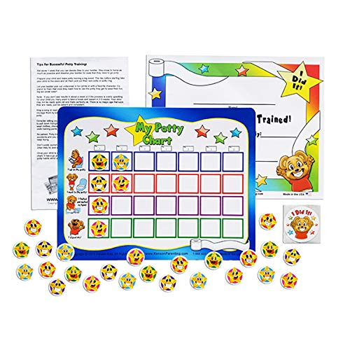 """""""I Can Do It!"""" Potty Training Reward Chart with Static Cling Stars by Kenson Kids"""