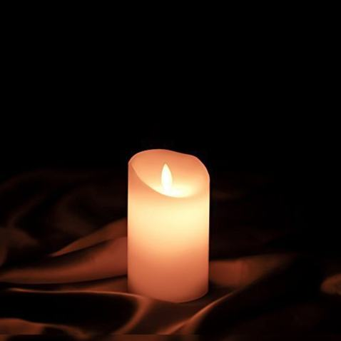"""Etronic Real Wax 3D Dancing Flame Flickering Flameless Battery Powered LED Pillar Dripless Motion Candle, 3"""" x 5"""", Ivory, for wedding, Paries Events Romantic Decorations"""