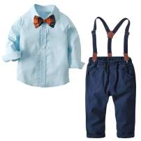 Autumn Boys Clothes Sets Toddler Boy Outfits Gentleman Suits 2pcs Bow Tie Shirts and Suspenders Pants