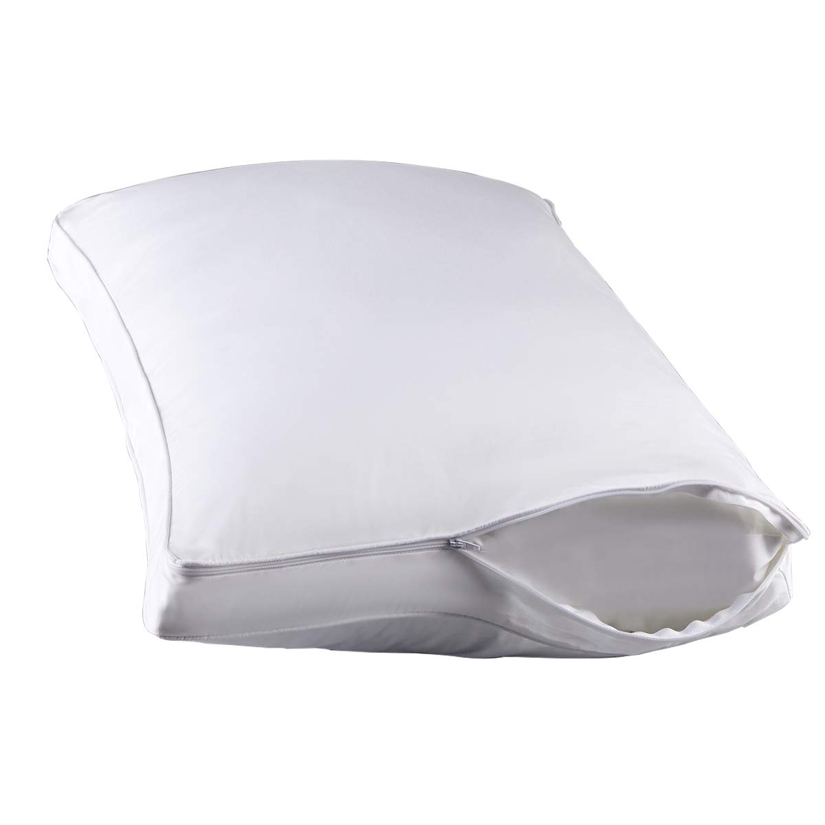 STONECREST Gusseted Pillow Protector-Set of 1, Hypoallergenic Zipper Premium Gusset Pillow Encasement Covers(white2/gusset Queen)