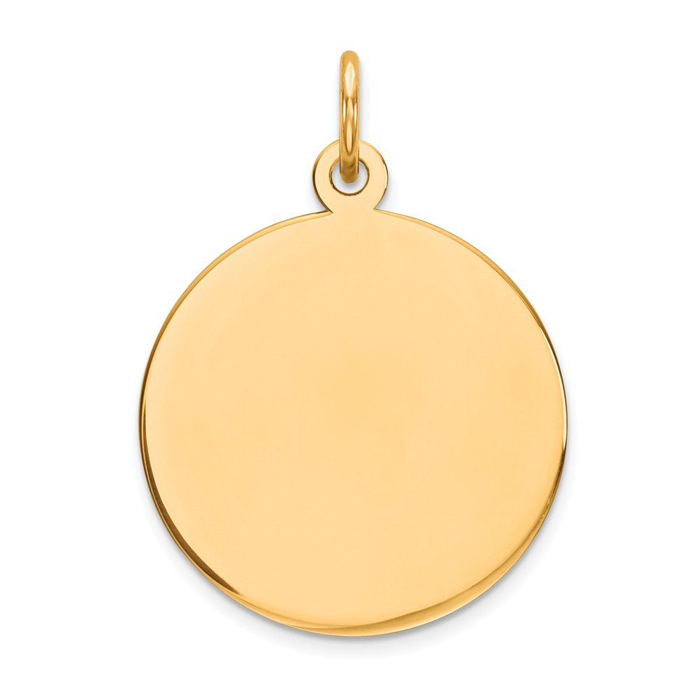 14k Yellow Gold .018 Gauge Circular Engravable Disc Pendant Charm Necklace Round Plain Fine Jewelry For Women Gifts For Her