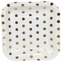 Just Artifacts Square Paper Party Plates 7.25-Inch (12pcs) - Metallic Gold Polka Dot - Decorative Tableware for Birthday Parties, Baby Showers, Grad Parties, Weddings, and Life Celebrations!