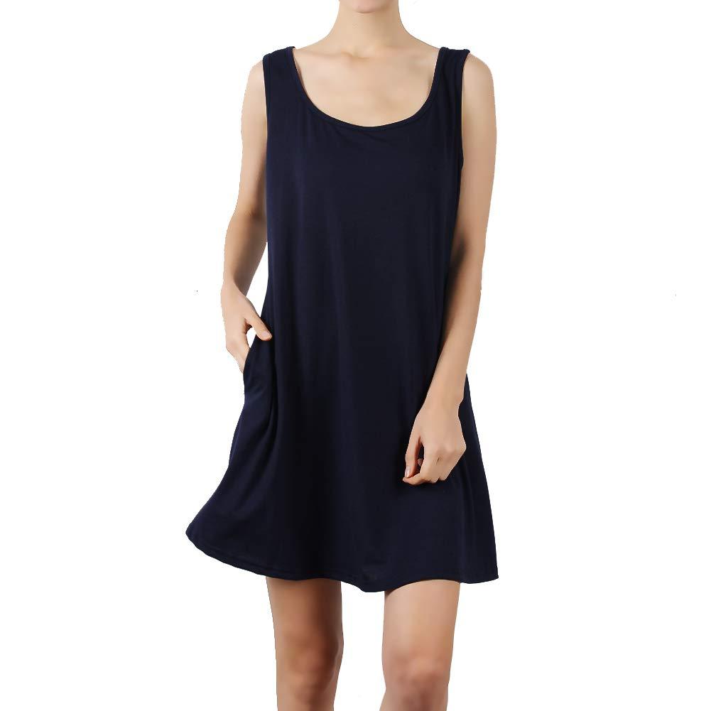 DD DEMOISELLE Women's Summer Sleeveless Dresses with Pockets Lounge Wear Dresses