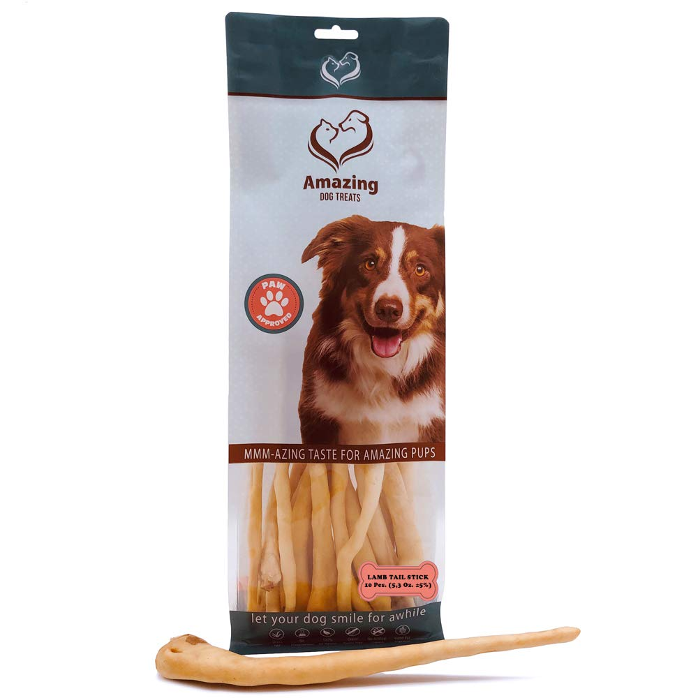 Lamb Tail Dog Chew (10 & 18 Pack) - All Natural Dog Chew- Made from Grass-fed Savory Lamb - Best Dog chew for Cleaning Your Dogs Teeth