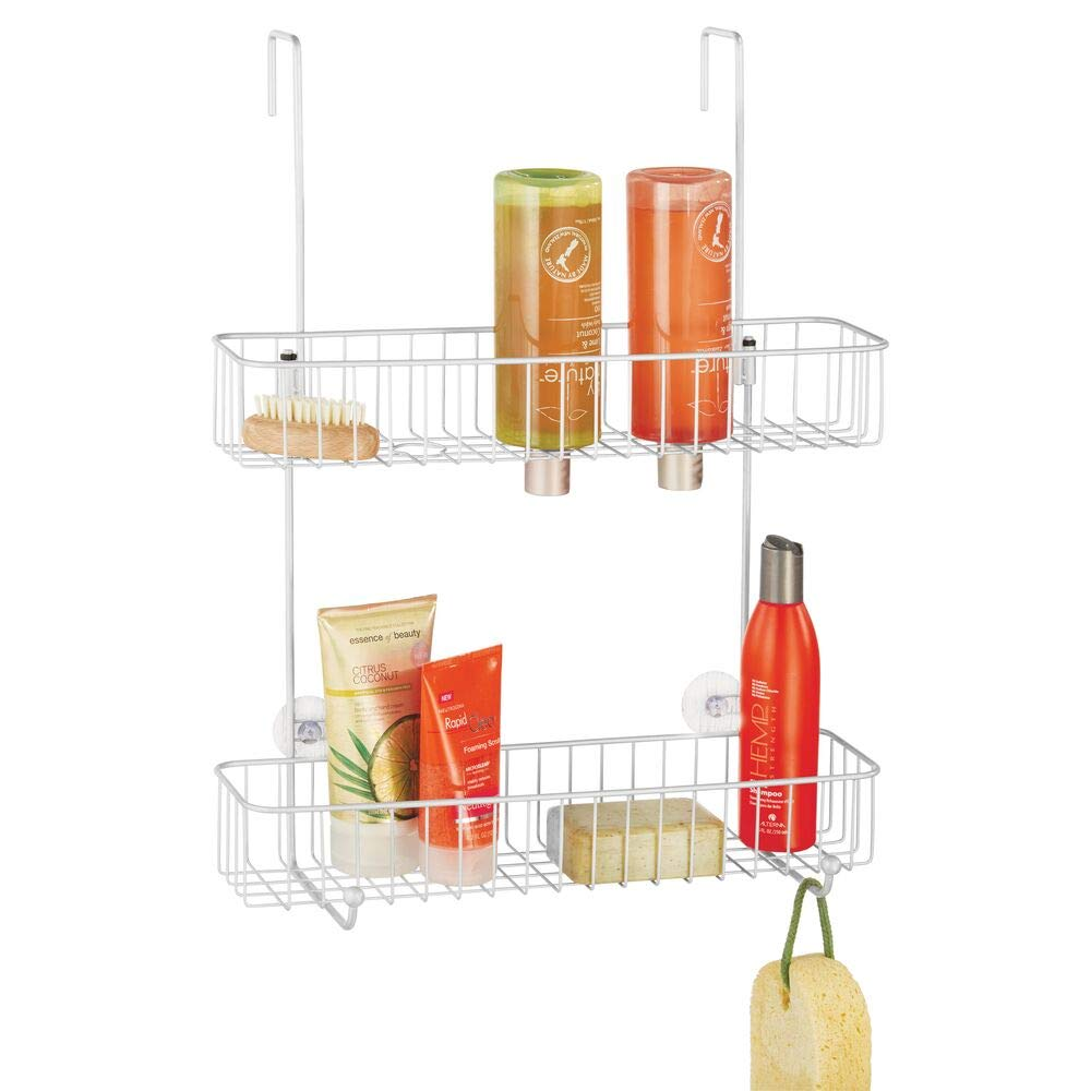 mDesign Extra Wide Metal Wire Over The Bathroom Shower Door Caddy, Hanging Storage Organizer Center with Built-in Hooks and Baskets on 2 Levels for Shampoo, Body Wash, Loofahs - White