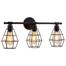 3 Light Bathroom Vanity Light, Metal Wire Cage Industrial Wall Sconce, Black Light Fixture Bathroom for Mirror Cabinets, Vanity Table, Bathroom, Wall Lighting - 22.8 in (Bulb Not Include)