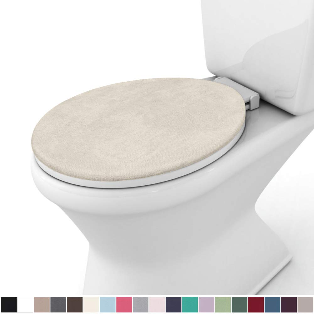 Gorilla Grip Original Thick Memory Foam Bath Room Toilet Lid Seat Cover, 19.5 Inch x 18.5 Inch Size, Machine Washable, Plush Fabric Covers, Fits Most Size Toilet Lids for Kids Bathroom, Ivory Cream