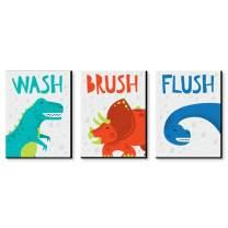 Big Dot of Happiness Roar Dinosaur - Dino T-Rex Kids Bathroom Rules Wall Art - 7.5 x 10 inches - Set of 3 Signs - Wash, Brush, Flush
