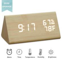 JCHORNOR Digital Alarm Clock,Wood Alarm Clock Digital Led,Adjustable Brightness Desk Clock with Sound Control (Bamboo)