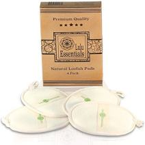 Lulu Essentials Natural Loofah Pads (4 Pack) Large Bath Body Sponge, Shower Scrub, Eco Friendly Luffa