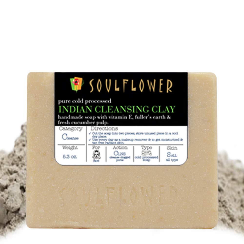Cleansing Clay Handmade Soap with Coconut Oil, (5.3Oz) 100% Natural, Organic, Vegan & Cold processed, USFDA approved - Soft and Radiant for Oily Skin - Indian Formulation