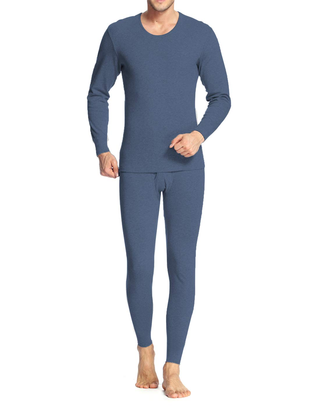 iWoo Men Long Thermal Underwear 2 Pieces Breathable Elastic Thin Johns Sets
