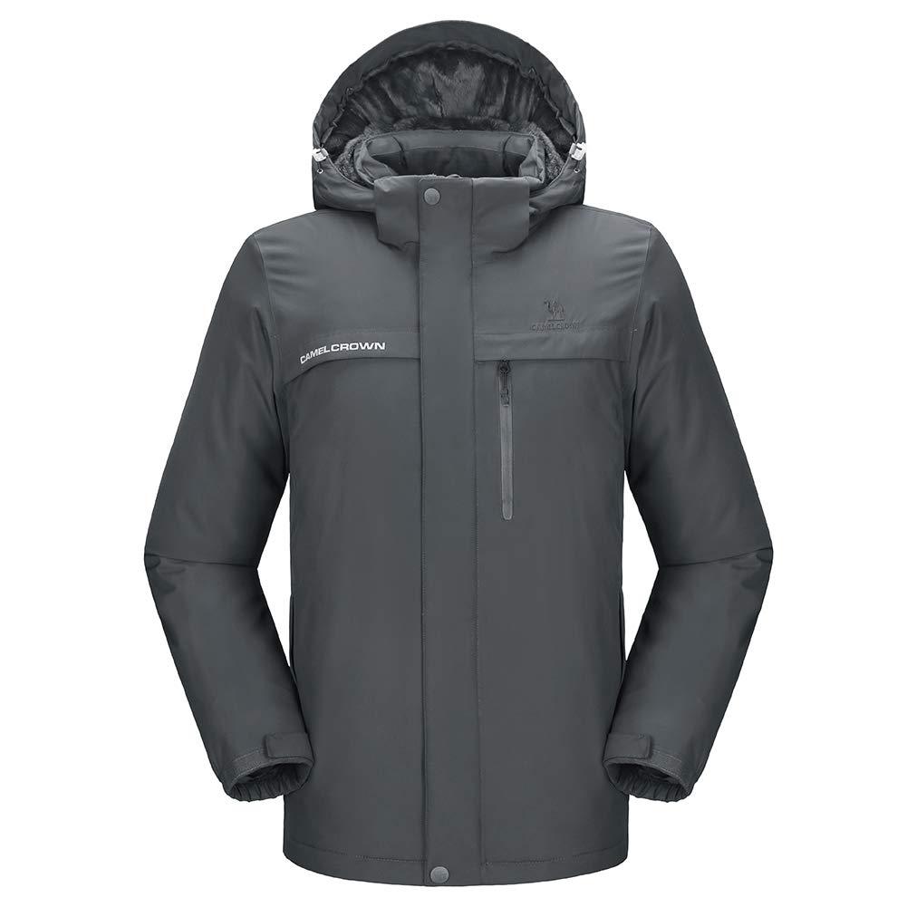 CAMEL CROWN Men's Mountain Snow Waterproof Ski Jacket Detachable Hood Windproof Fleece Parka Rain Jacket Winter Coat