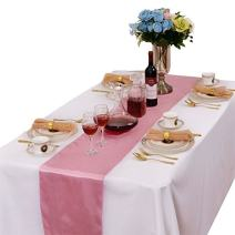 LOVWY Pack of 20 Satin Table Runner 12 x 108 Inches for Wedding Party Engagement Event Birthday Graduation Banquet Decoration (Colors Optional) (Pink)