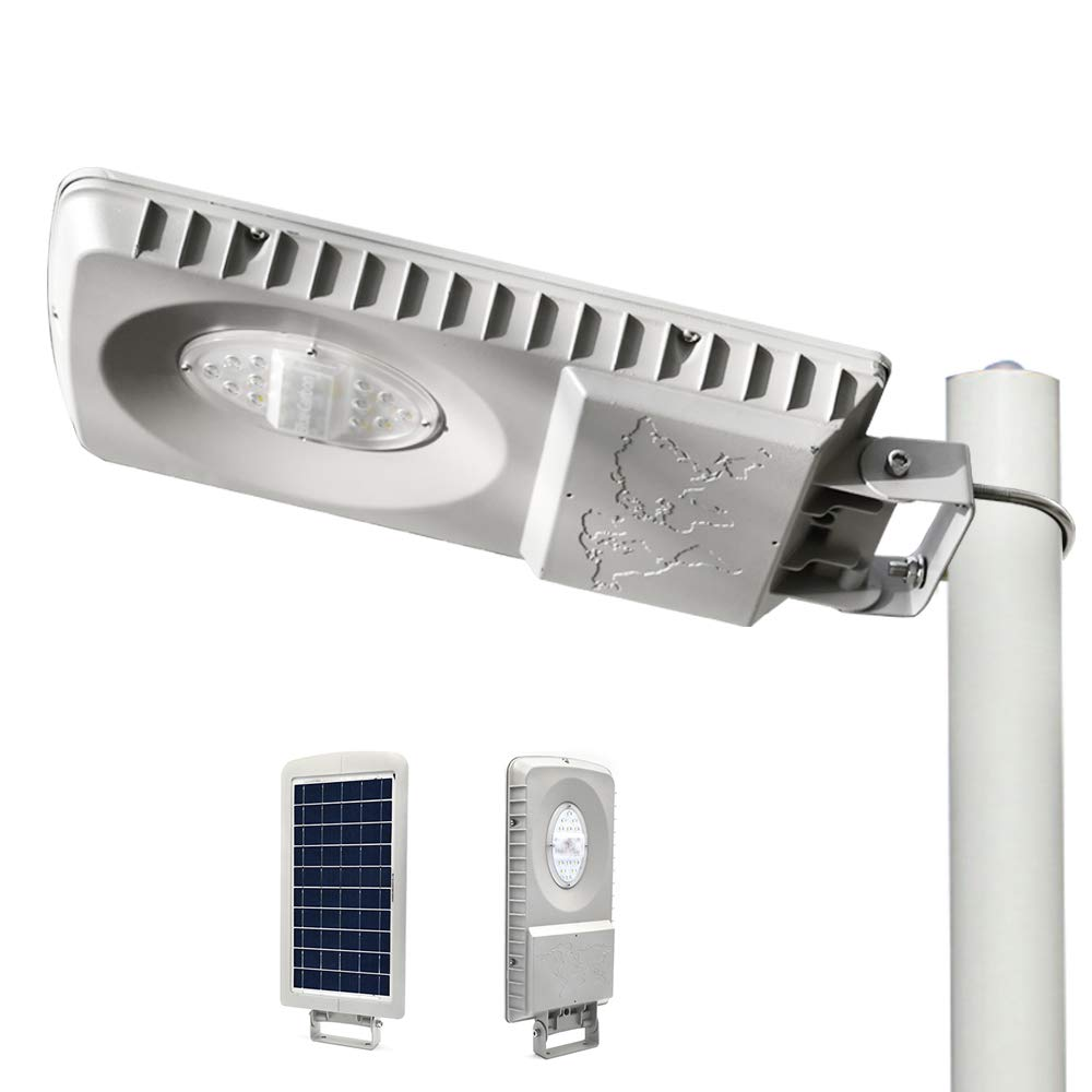 """ECO-WORTHY 20W Solar LED Street Light Outdoor - Super Bright 2000LM - Solar Flag Pole/Wall Light Dusk to Dawn with Lithium Battery, Fit Max Pole Diameter 2.5"""""""" for Street Gutter Patio Garden Path"""
