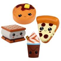 Anboor 4 Pcs Emoji Squishies Smore Waffle Cake Pizza Coffee Cup Kawaii Scented Soft Slow Rising Squeeze Stress Relief Kids Toy Xmas Gift