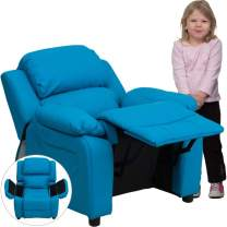 Flash Furniture Deluxe Padded Contemporary Turquoise Vinyl Kids Recliner with Storage Arms