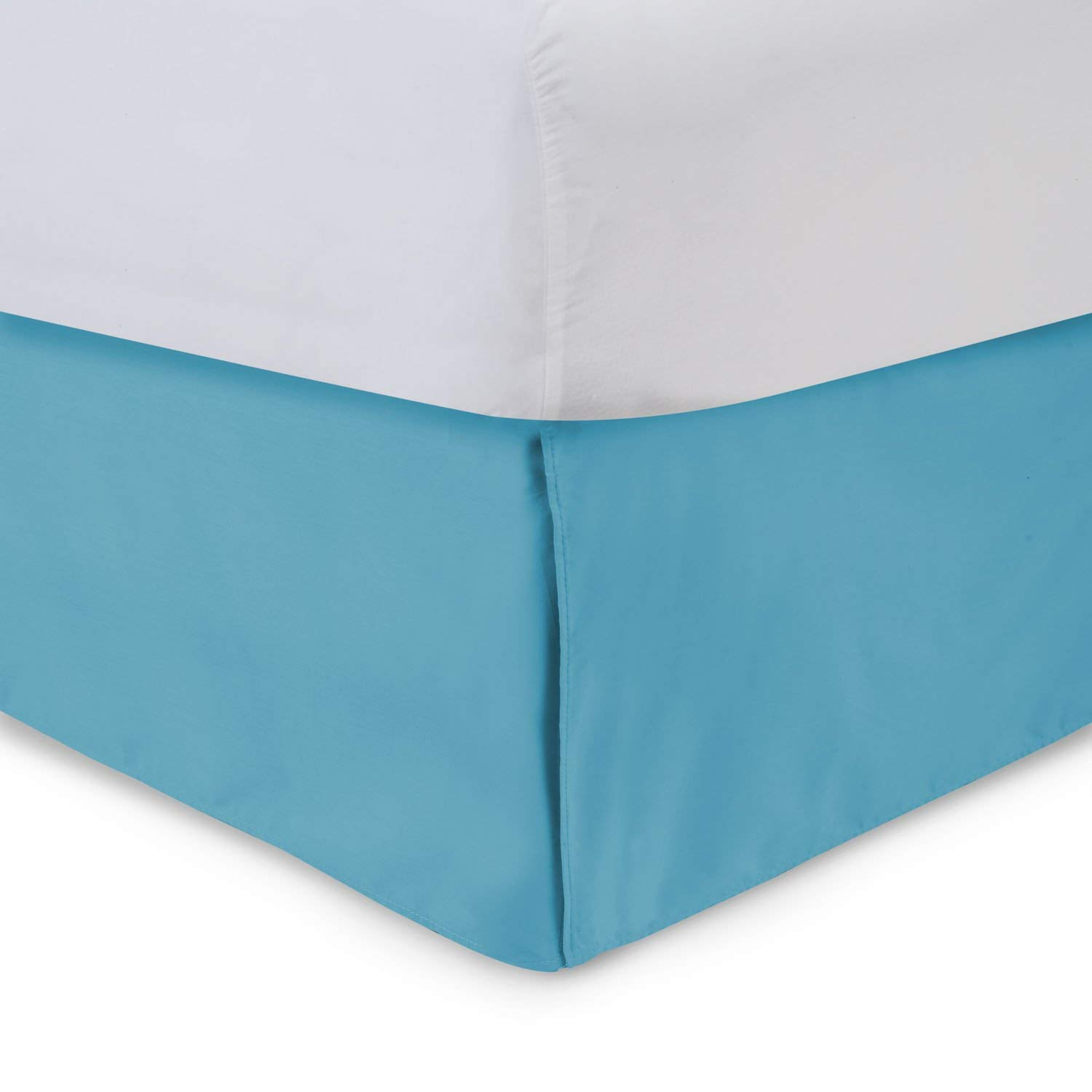 Harmony Lane Tailored Bed Skirt - 18 inch Drop, Aqua, King Bedskirt with Split Corners (Available in and 16 Colors)