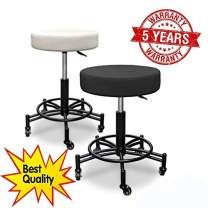 A&A Pneumatic Swivel Stool - 5-Year WARANTTY! Scratch-Proof! High-Tech Imitation Thick and Soft Leather Plush CushionT-07A1 /T-07A2 (Black)