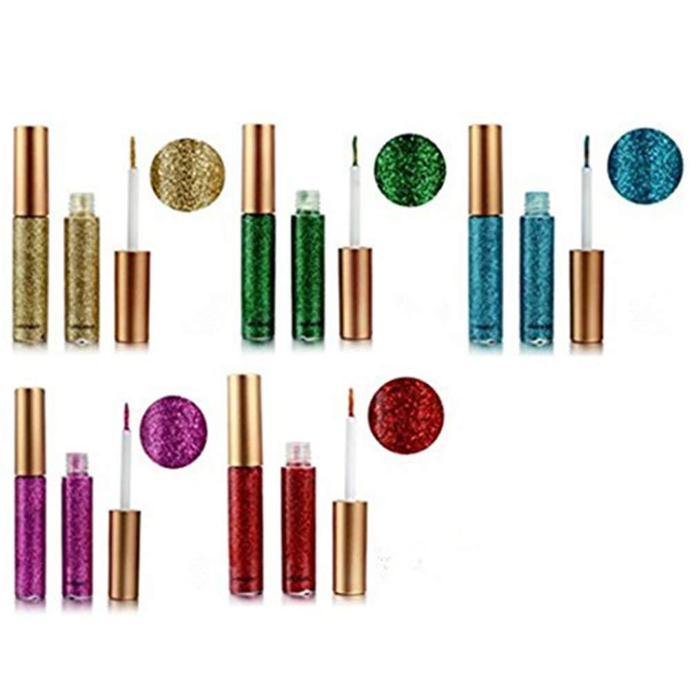 Liquid Eyeliner, FOCALLURE Waterproof Glitter Shimmer Eyeshadow Highlighter Metallic Sparkling Eye Liner Platinum-#5PCS