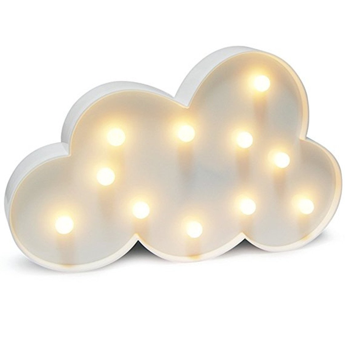 QiaoFei Cloud Night Light LED Marquee Sign-Baby Light-Battery Operated Nursery Lamp, Decorative Light for Kid's Room/Party/Home/Wall Decor(White)