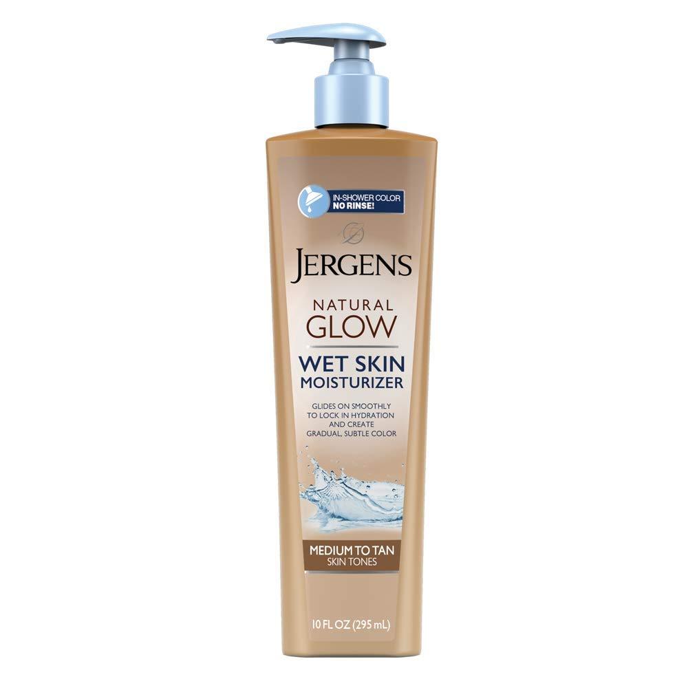 Jergens Natural Glow In-shower Moisturizer, Medium to Tan Skin Tone, 10 Fl Oz Wet Skin Lotion, Locks in Hydration with Gradual, Flawless Color