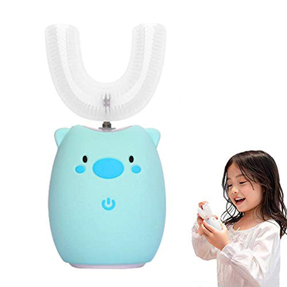 FEISIKE Ultrasonic Kids ELectric Toothbrush,U Type Toothbrush, Three Gear Speed Clearning Mode, Auto-toothbrush Specially Designed for Toddlers(Blue)