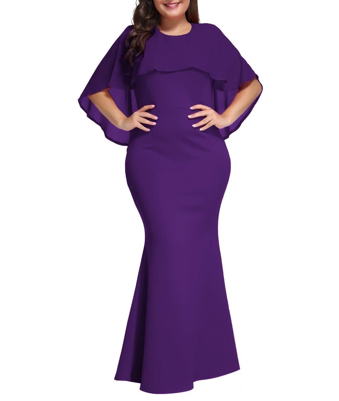 Lalagen Womens Ruffle Mermaid Formal Gown Plus Size Evening Party Maxi Dress Purple XXL-1