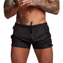 PIDOGYM Men's Swimwear Shorts Swim Trunks Quick Dry Lightweight with Zipper Pockets for Running