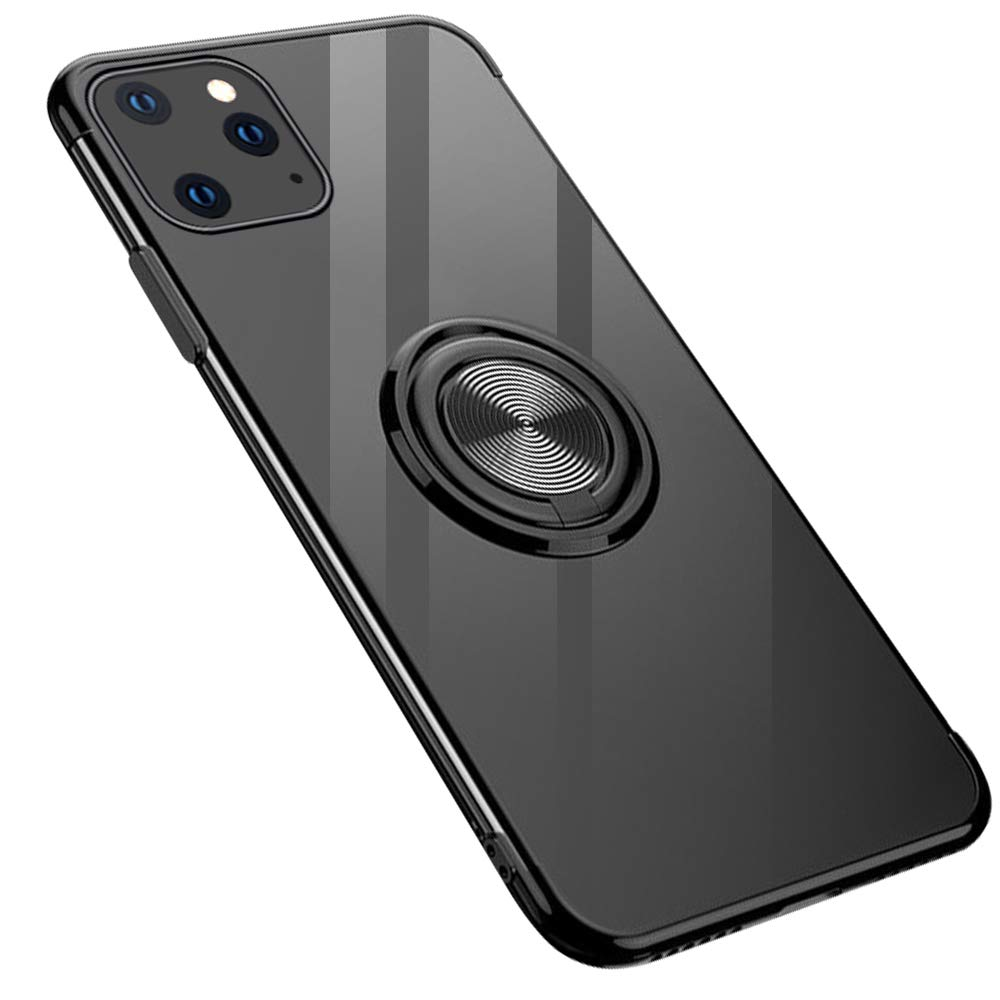 GRKJGytech iPhone 11 Pro Max Case with Ring Holder,Magnetic Car Clear Kickstand Slim Fit Soft Flexible TPU Silicone Protective Cover for iPhone 11 Pro Max 6.5inch(Black)