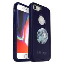 Bundle: OtterBox Commuter Series Case for iPhone SE (2nd gen - 2020) and iPhone 8/7 (NOT Plus) - (Indigo Way) + PopSockets PopGrip - (Blue Marble)