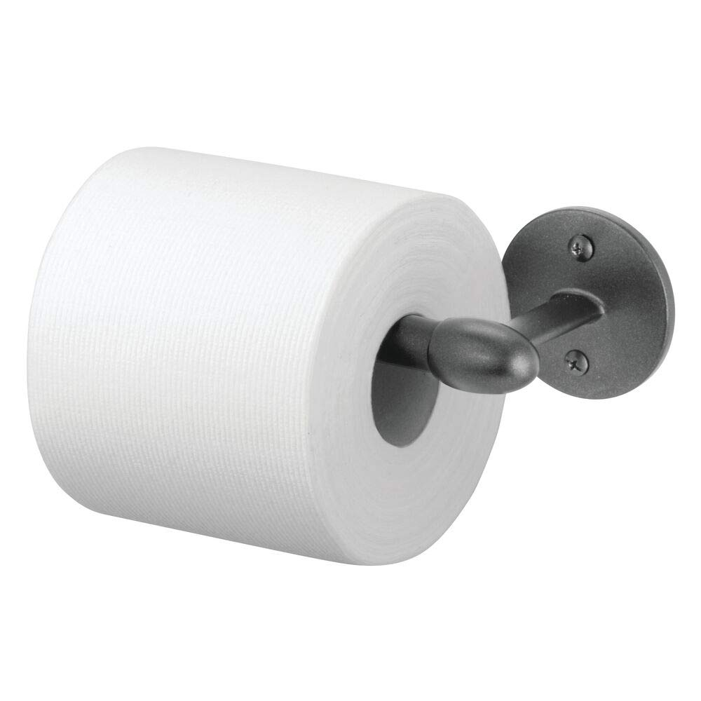 mDesign Modern Metal Toilet Tissue Paper Roll Holder and Dispenser for Bathroom Storage - Wall Mount, Holds and Dispenses One Roll, Mounting Hardware Included - Graphite Gray