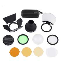 Godox AK-R1 Accessories Kit with Barn Door, Snoot, Color Filter, Reflector, Honeycomb, Diffuser Ball Kits for Godox AD200 and H200R Round Flash Head