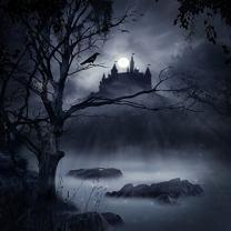 Baocicco Halloween Fantasy Forest Haunted House Background 6x6ft Photography Background Horror Night Moon Light Black Crow Gloomy Tree Spooky Party Creepy Night