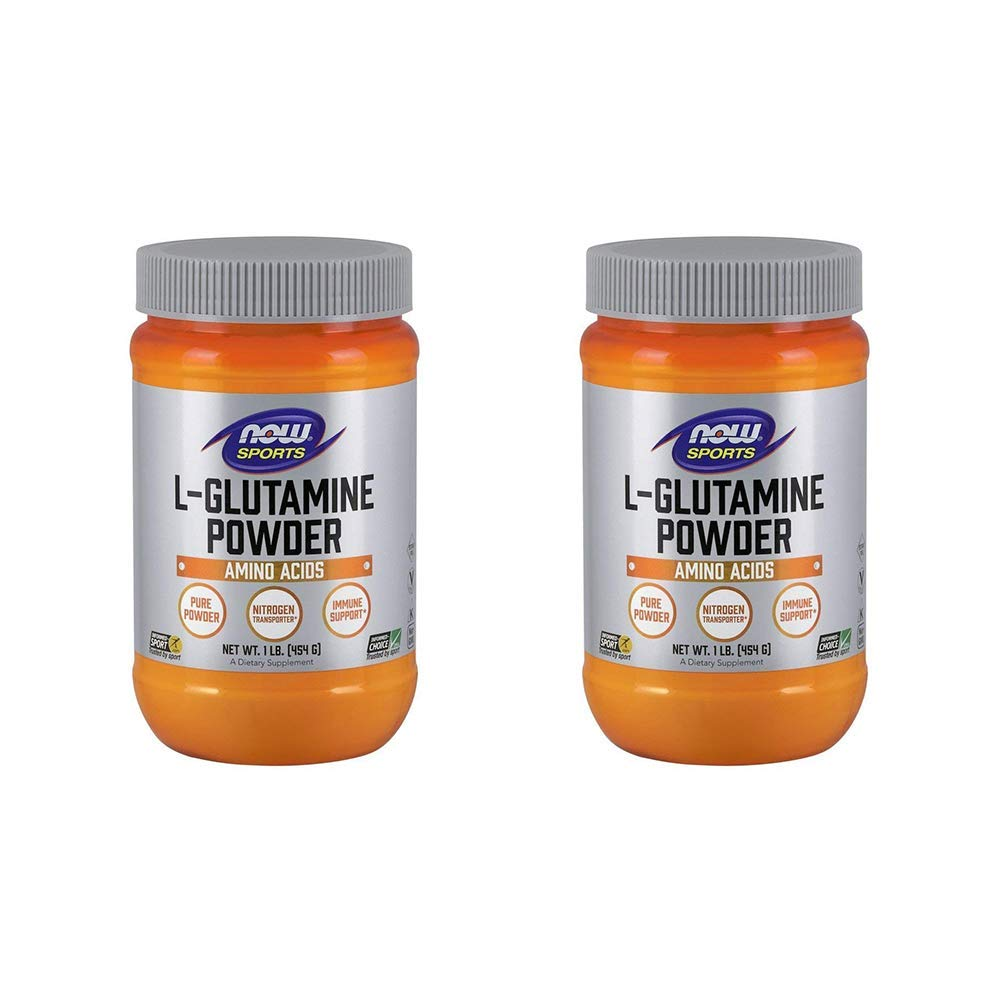 NOW Foods L-Glutamine Pure Powder, 16 Ounce (Pack of 2)