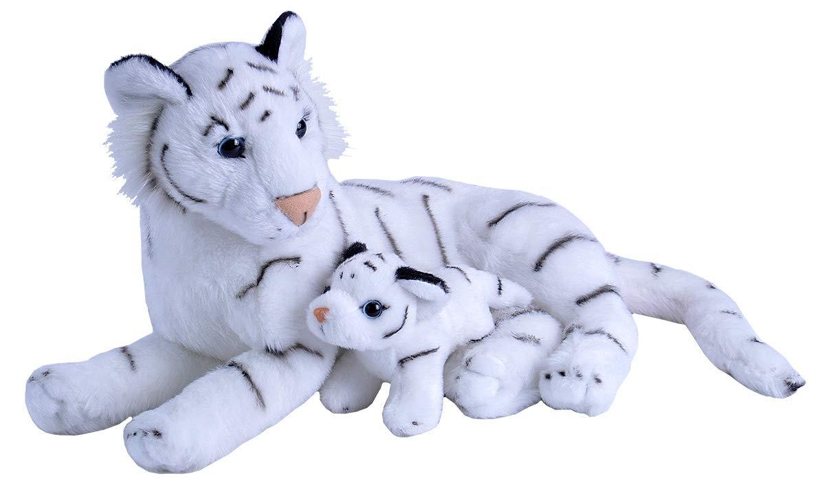 "Wild Republic Mom & Baby White Tiger Plush, Stuffed Animal, Plush Toy, Gifts for Kids, Zoo Animals, 11"""