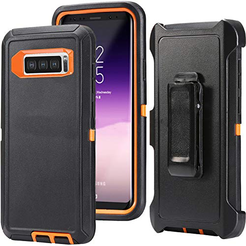 Compatible Galaxy S10 Plus, HONTECH Heavy Duty Armor 3 in 1 Shockproof Series Dust-Proof Cover with a Screen Protector Case with a Belt-Clip Holster, Black-Orange