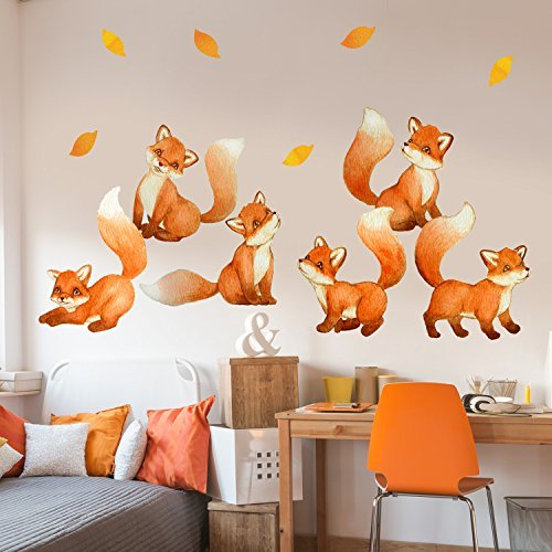 Fantastic Foxes Watercolor Wall Decal Set - Nursery Wall Decal By Chromantics