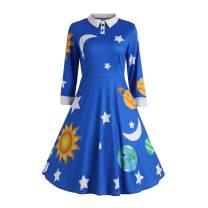 ZEZCLO Women's Solar System Pan Collar Costume Dress 1950s Flared Retro Dresses