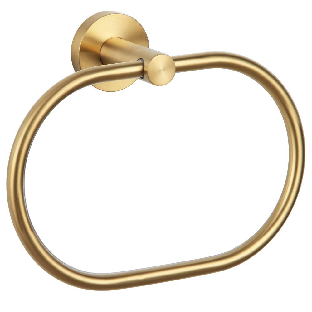 Aomasi Brushed Gold Bath Towel Ring, SUS 304 Stainless Steel Swivel Hand Towel Holder Modern Bathroom Accessories Wall Decoration