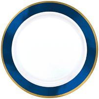 "amscan 430584.105 Premium 7 1/2"" Paper Plates White with Royal Blue Border (Pack of 6)"