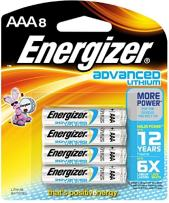 Energizer Advanced Lithium Batteries, AAA Size, 8 Count