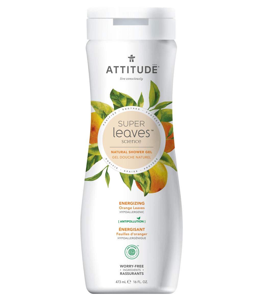 ATTITUDE Natural Moisturizing Body Wash, EWG Safe, Gentle on Sensitive Skin, Hypoallergenic Energizing Shower Gel, Orange Leaves, 16 Fluid Ounce