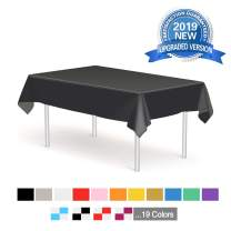 Anborfly Plastic Tablecloth Disposable Table Cloths 6 Pack 54in. x 108in. Heavy Duty Party Covers for Rectangle Tables Birthday Wedding Parties Thanksgiving Christmas Indoor or Outdoor Use(Black)