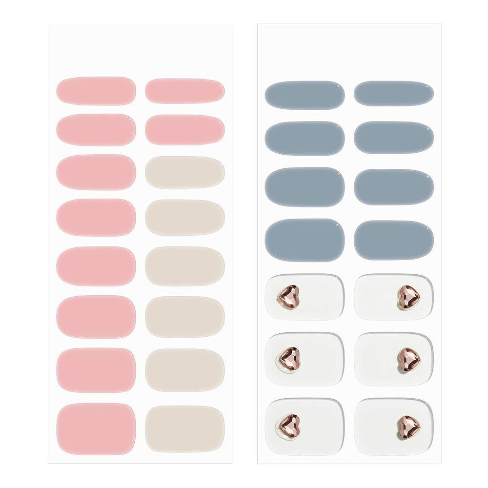 [N Cotton] Real Gel Nail Strip by ohora - 30pcs with Prep pad, Mini nail file, Wood stick, DIY Nail Art with Rhinestones, Starter Kit, No Glue, Non Soak-off