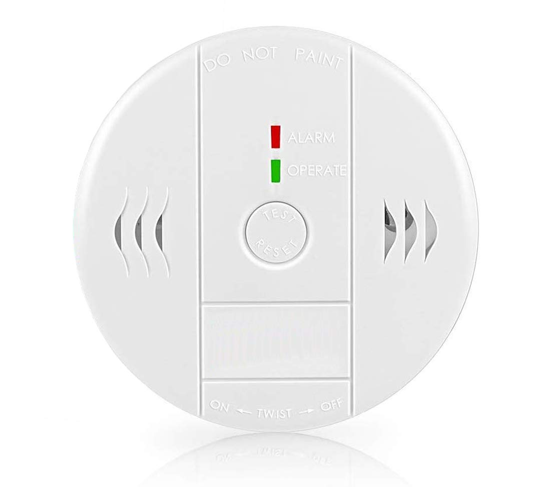 Combination Smoke and Carbon Monoxide Detector Alarm, GLBSUNION Voice Warning Smoke and CO Alarm Clock for Basements Travel Home Office Kitchen Bedroom, Battery Operated, UL Listed, 1-Pack