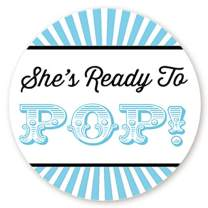 Circus Themed Ready to Pop Stickers | 48 Stickers | Ready To Pop Baby Shower Stickers for Popcorn | 1.67 Inches | Ready to Pop Stickers for Boy or Girl (Blue)